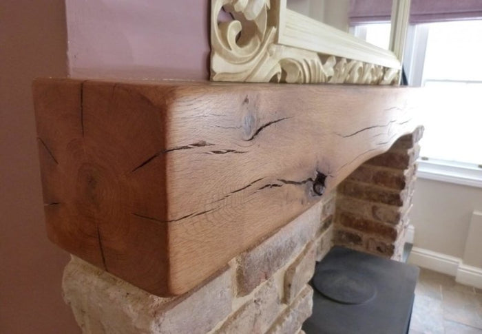 Shaped Oak Beam Fireplace Mantel