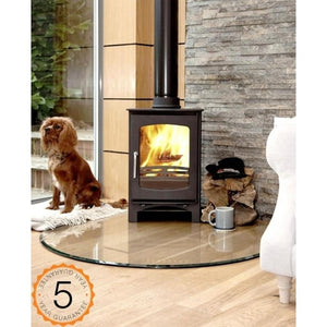 Purefire Ecosy+ 5kw Curve, 85% Efficient,  Contemporary Wood burning, Log Burner, Multi Fuel Stove
