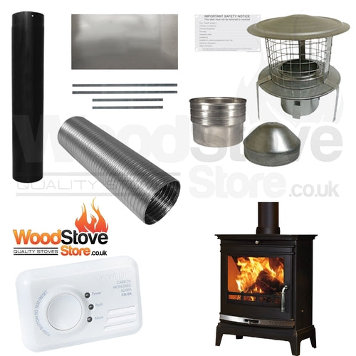 COMPLETE DEFRA FLAVEL Rochester 7KW MULTI FUEL STOVE/WOOD BURNING STOVE INSTALLATION KIT