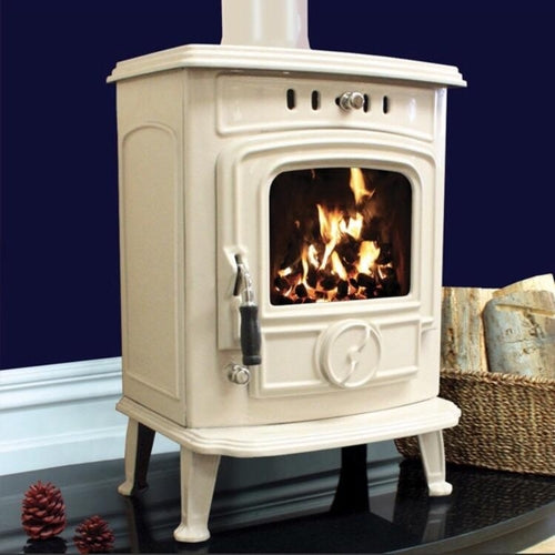 Henley Aran Multifuel Wood Burning Stove 5-6kw Cream Enamelled