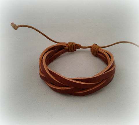Leather Pull Cord Bracelet (Brown)