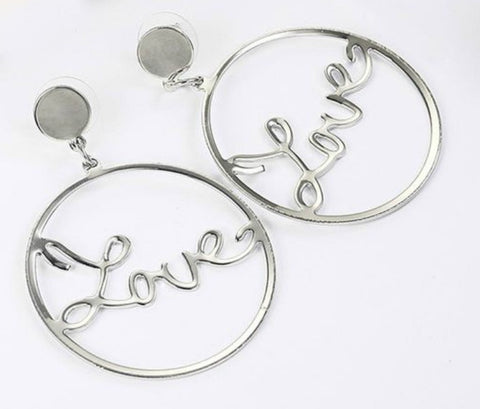 "Silver ""Love"" Hoop Earrings"