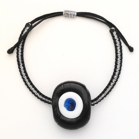 Liquorice Glass Evil Eye Bracelet - OIYA