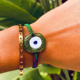 Green Glass Evil Eye Bracelet - OIYA