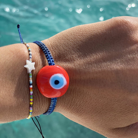 Orange Ceramic Evil Eye Bracelet - OIYA