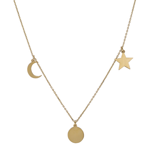 Celestial Solid Gold Necklace - OIYA