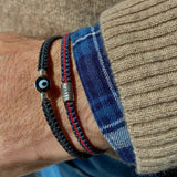 Sterling Silver Ceramic Evil Eye Bracelet - OIYA