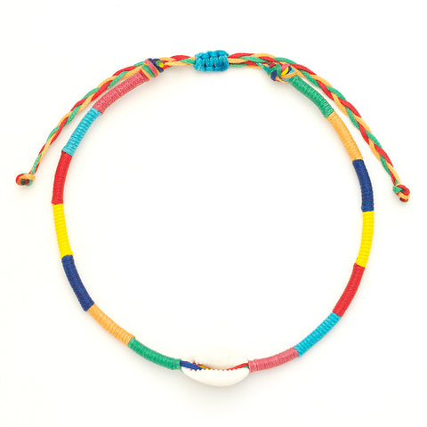 Rainbow Shell Evil Eye Anklet - OIYA