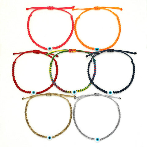 Kids Evil Eye Braided Bead Bracelet - OIYA