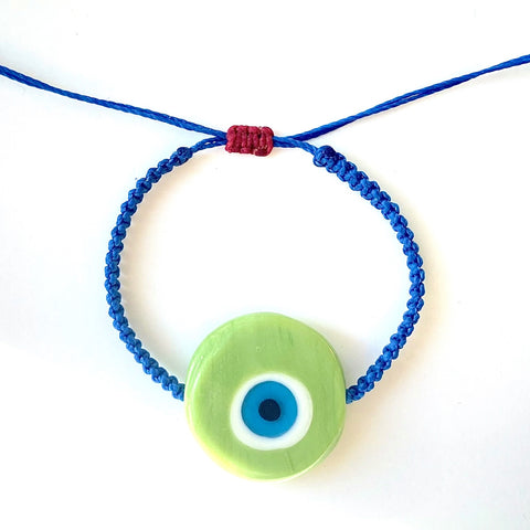 Green Ceramic Evil Eye Bracelet - OIYA