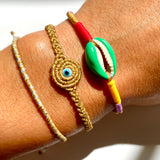 Gold Twisted Duo Color Evil Eye Bracelet - OIYA