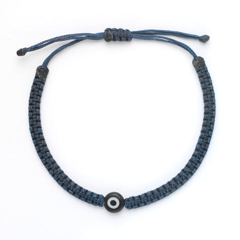 Single Evil Eye Braided Bracelet - OIYA