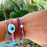 Oval White Ceramic Evil Eye Bracelet - OIYA