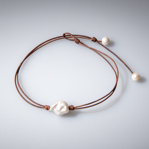 Raw Pearl Leather Choker - OIYA