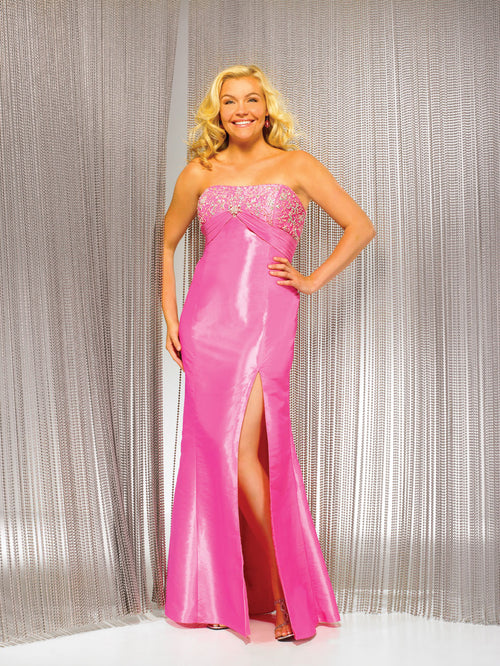 Night Moves 5887W Hot Pink size 16W Evening Gown In Stock