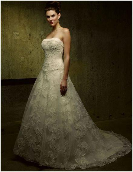 Casablanca 1885 Champagne/Gold size 8 In Stock Wedding Dress - Tom's Bridal
