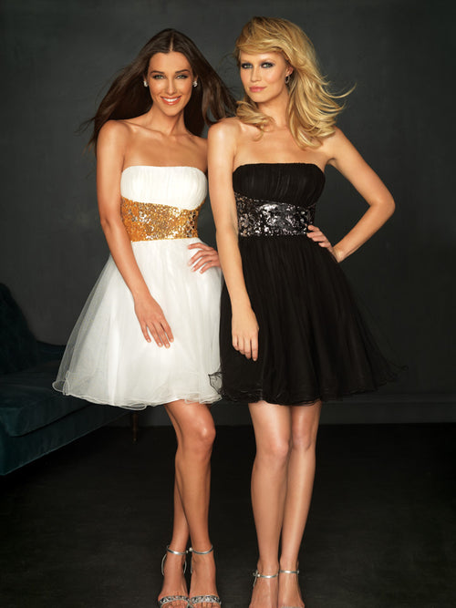Evenings by Allure A329 White/Gold size 8 In Stock Prom Dress
