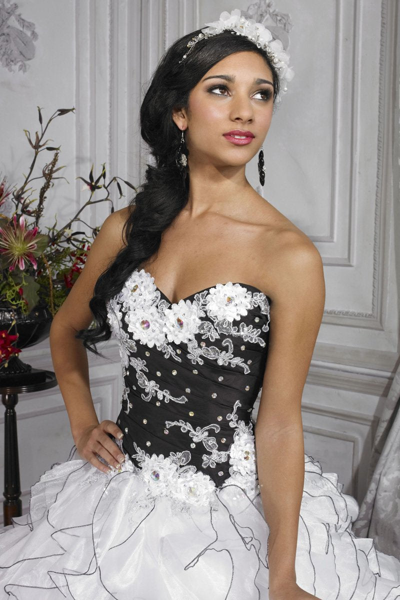 House of Wu 26679 Black White size 6 In Stock Quinceanera Dress - Tom's Bridal