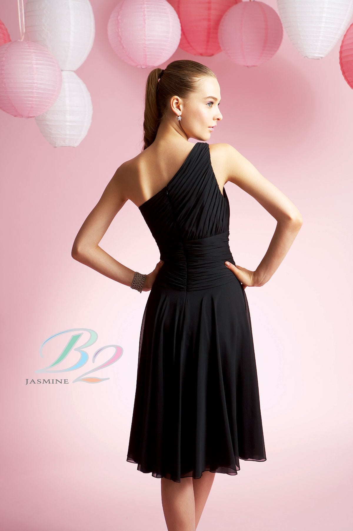 Jasmine B2 B3055 Black size 8 In Stock Bridesmaid Dress - Tom's Bridal