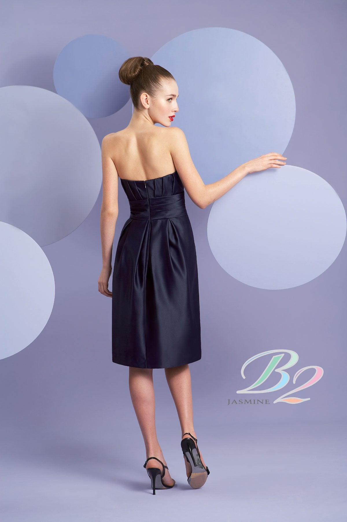 Jasmine B2 B3098 Cayman Blue size 8 In Stock Bridesmaid Dress - Tom's Bridal