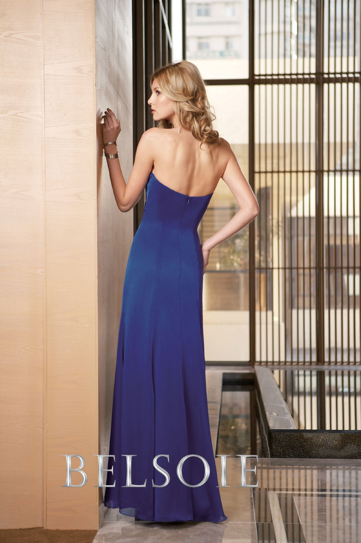 Jasmine Belsoie L2064 Cobalt size 14 In Stock Bridesmaid Dress - Tom's Bridal