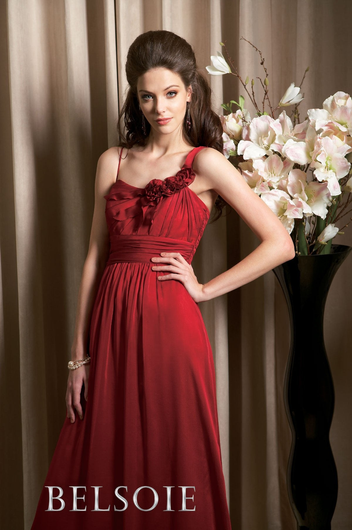 Jasmine Belsoie L3056 New Red size 14 In Stock Bridesmaid Dress - Tom's Bridal