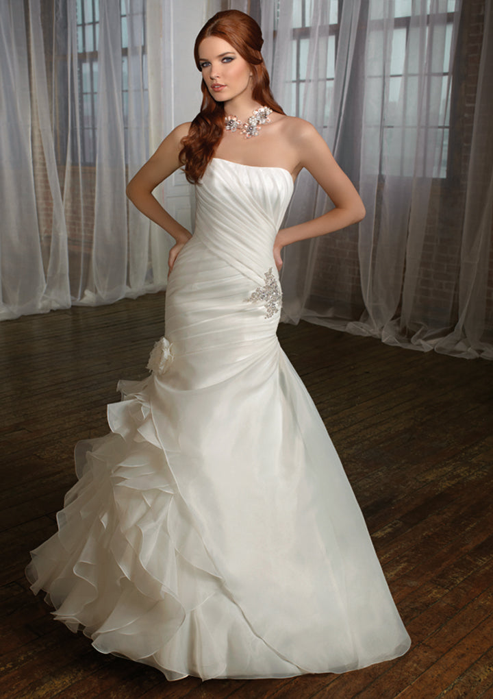 Mori Lee Blu 4869 Ivory/Silver size 12 In Stock Wedding Dress - Tom's Bridal
