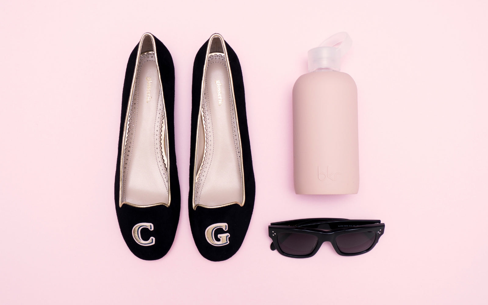 Black Suede & Gold Monogram Shoes | Glosserie