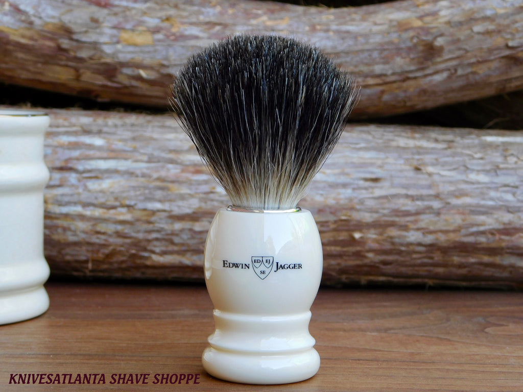 Edwin Jagger 81P27 Imitation Ivory Shaving Brush (Pure Badger)