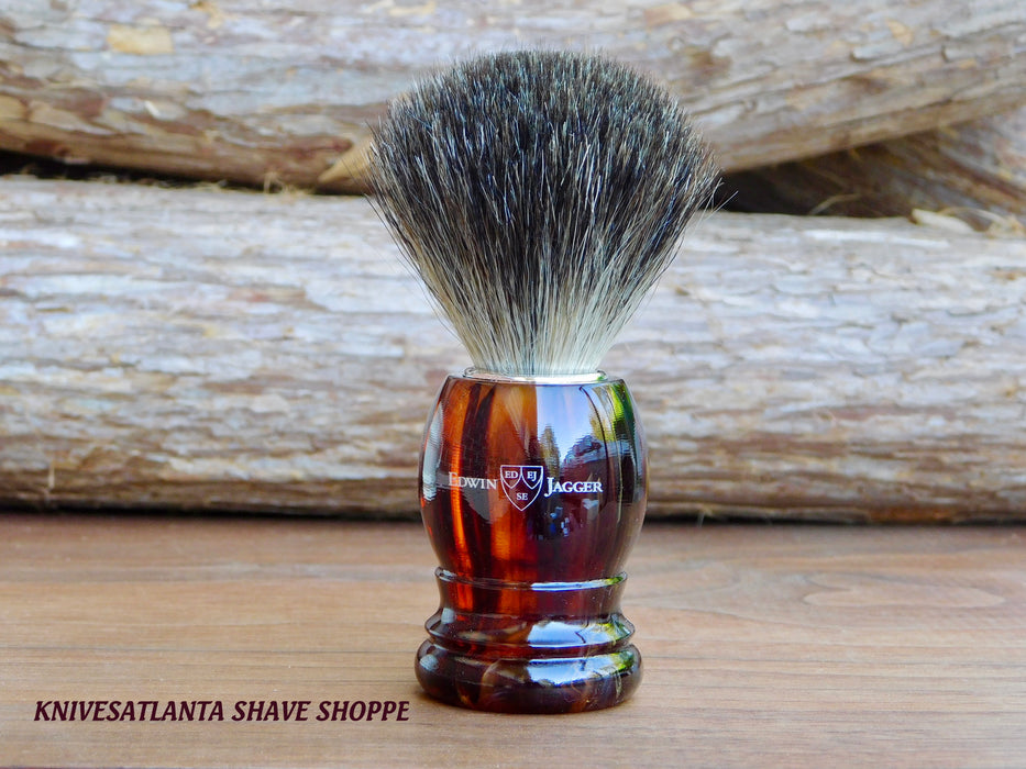 Edwin Jagger 81P23 Imitation Tortoiseshell Shaving Brush (Pure Badger)