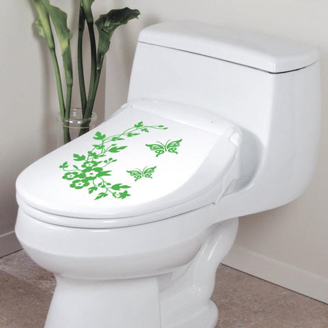 Butterfly Flower Toilet Stickers