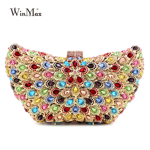 Luxury Rainbow Crystal Clutch bag