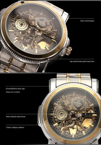 KS Royal Carving Auto Stainless Men's Watch