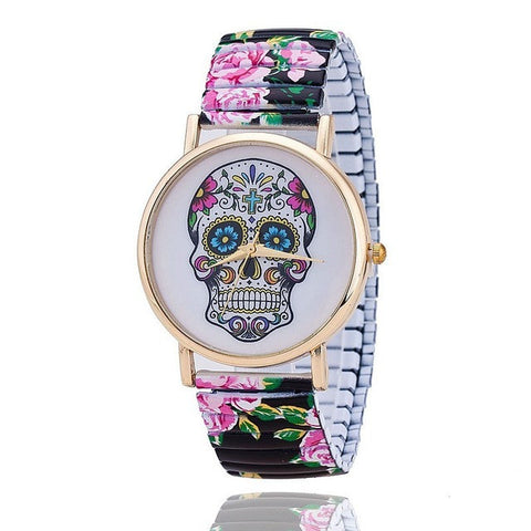Fashion Printed  Skull Watch for Women Quartz Watch