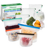 Image of Reusable Silicone Food Bags With Mesh Produce Bags