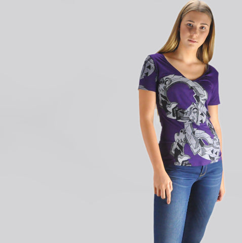 Zoku Women Bamboo T-Shirt Circles Purple