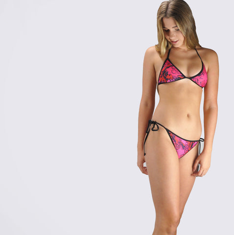 Zoku wear Pink & Black Trim Tribal Bikini