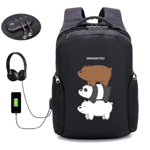PINkart-USA 01 Anime We Bare Bears Backpack Anti Theft Usb Charging Laptop Backpack Boys Girl Student Book Shoulder Travel Bag Unisex Knapsack