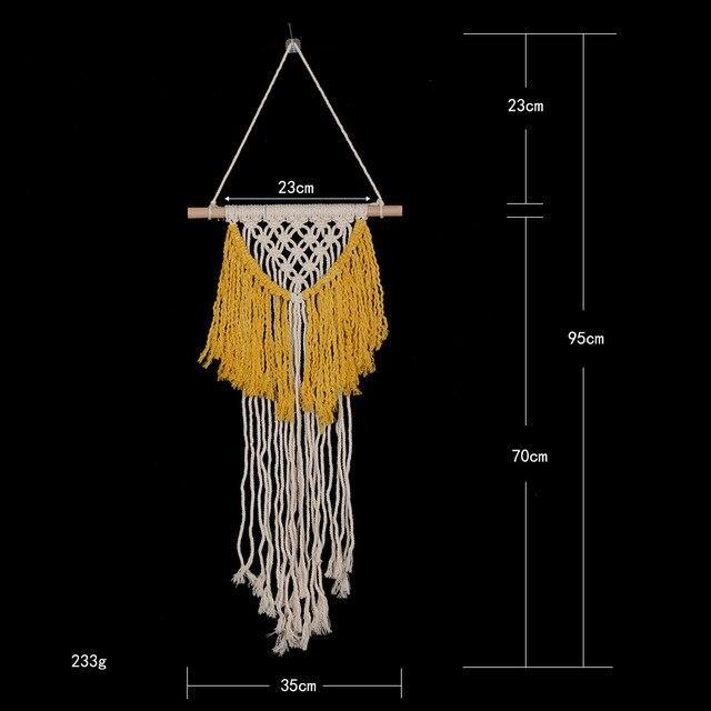PINkart-USA 01 yellow Bohemia Macrame Hand Woven Tapestry Wind Hand Woven Tapestry Living Room Wall Hanging Decorative