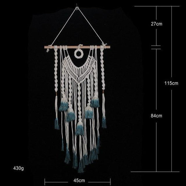 PINkart-USA 02 blue Bohemia Macrame Hand Woven Tapestry Wind Hand Woven Tapestry Living Room Wall Hanging Decorative