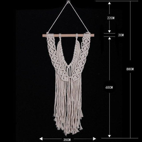 PINkart-USA 04 white Bohemia Macrame Hand Woven Tapestry Wind Hand Woven Tapestry Living Room Wall Hanging Decorative