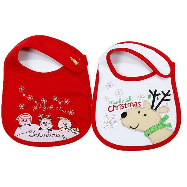 PINkart-USA 1 2Pcs/Lot Baby Christmas Cotton Bibs Born Girls Boys Cartoon Santa Claus Saliva Towel Toddler