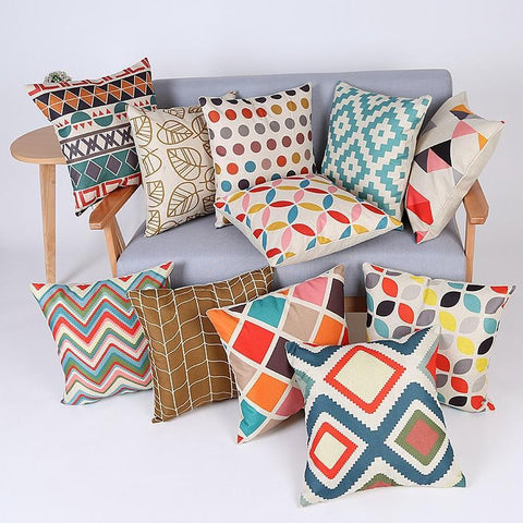 Geometric Pillow Cover Pillowcase Cotton Linen Printed Throw Pillow Cover Pillows Decorative Home