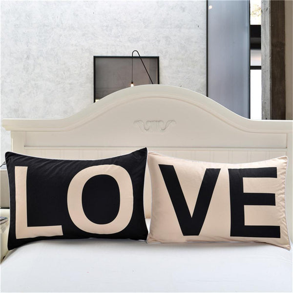 PINkart-USA 1 Pair Love Pillow Cases Couple Pillowcases Black And White Simplicity Personalized Pillow Cover