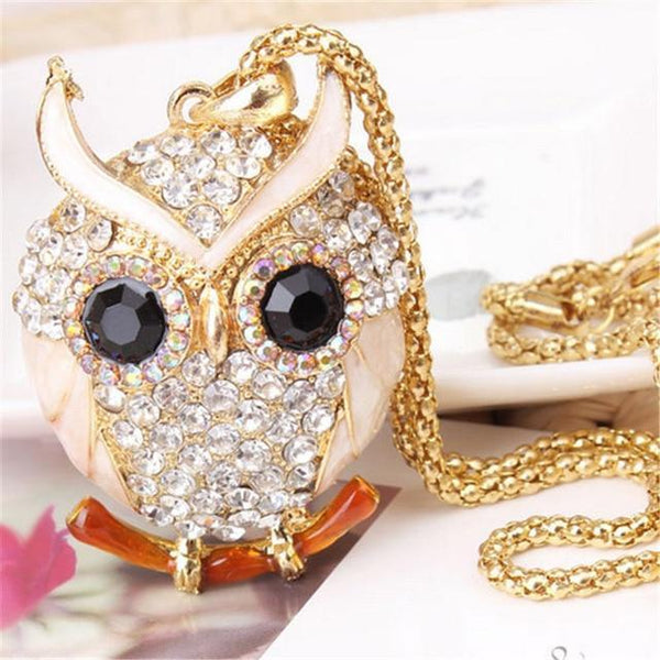 PINkart-USA 10 Lnrrabc Women Sweater Chain Necklace Owl Design Rhinestones Crystal Pendant Necklaces Jewelry