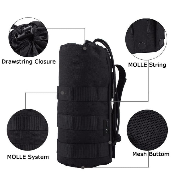 PINkart-USA 1000D Tactical Water Bottle Pouch Military Molle System Bottle Bag For Backpack Vest Survival