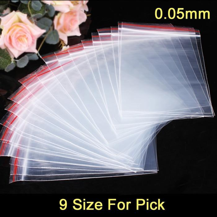 PINkart-USA 100Pcs/Lot Jewelry Ziplock Zip Zipped Lock Reclosable Plastic Poly Clear Bags