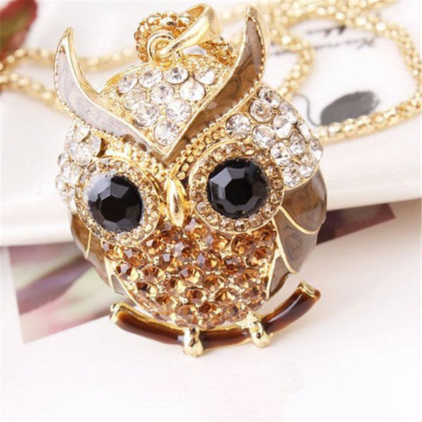 PINkart-USA 12 Lnrrabc Women Sweater Chain Necklace Owl Design Rhinestones Crystal Pendant Necklaces Jewelry