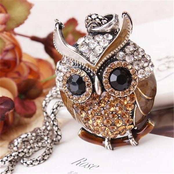 PINkart-USA 13 Lnrrabc Women Sweater Chain Necklace Owl Design Rhinestones Crystal Pendant Necklaces Jewelry