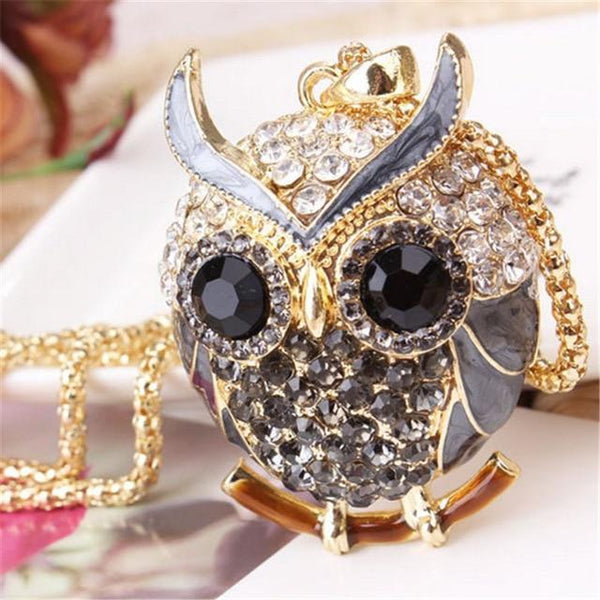 PINkart-USA 14 Lnrrabc Women Sweater Chain Necklace Owl Design Rhinestones Crystal Pendant Necklaces Jewelry
